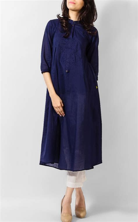 simple pattern of kurti navy blue linen kurti for girls design simple designs
