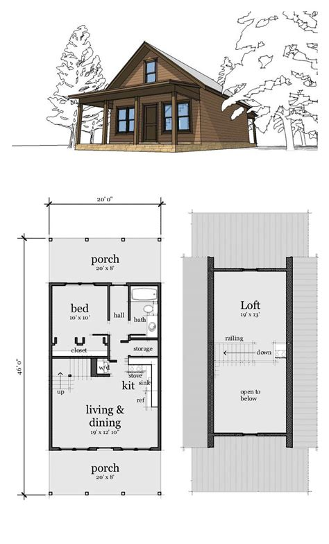 Small Chalet Floor Plans by Narrow Lot Home Plan 67535 Total Living Area 860 Sq Ft