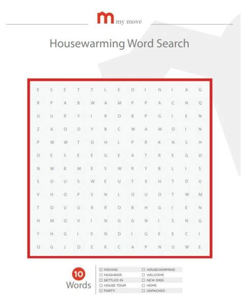printable housewarming worksheets housewarming word search party idea pinterest words