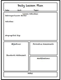 middle school lesson plan template lesson plan template printable plan well organised