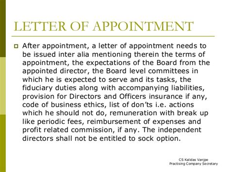 appointment letter to independent director appointment letter of independent director 7 re