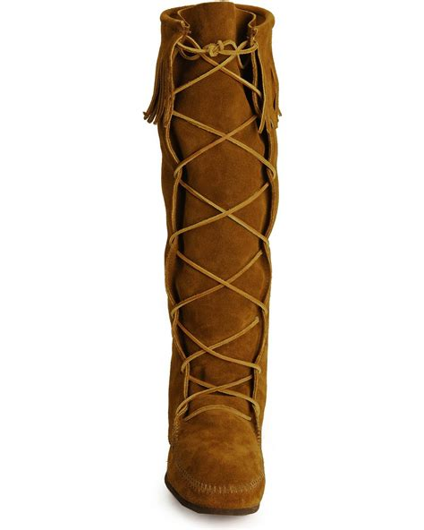 minnetonka lace up suede leather knee high boots country