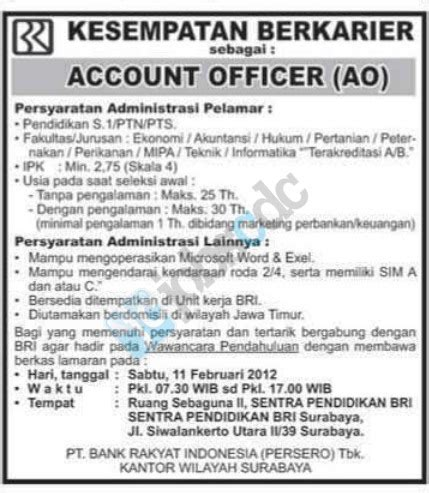 lowongan kerja design surabaya pt bank rakyat indonesia persero tbk account officer