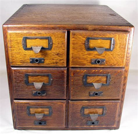 shaw walker six drawer oak index card file cabinet