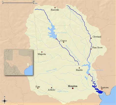 texas watershed map san jacinto river texas