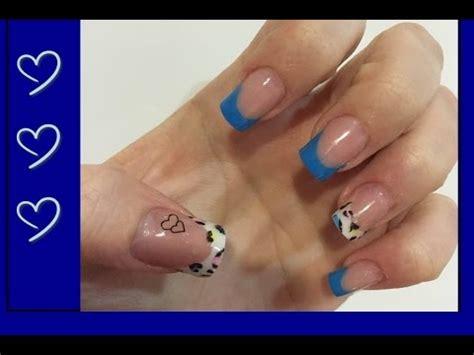 imagenes de uñas blancas con azul dise 241 o u 241 as acr 237 licas azules y animal print de colores