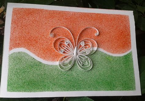 Independence Day Handmade Cards - reusing cards quilling august 2012