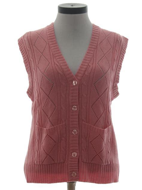 knitting pattern womens sweater vest 1970s sweater 70s no label womens carnation pink