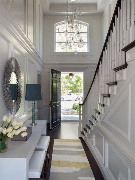 Foyer Chandelier Ideas 2 Story Foyer Transitional Entrance Foyer Green