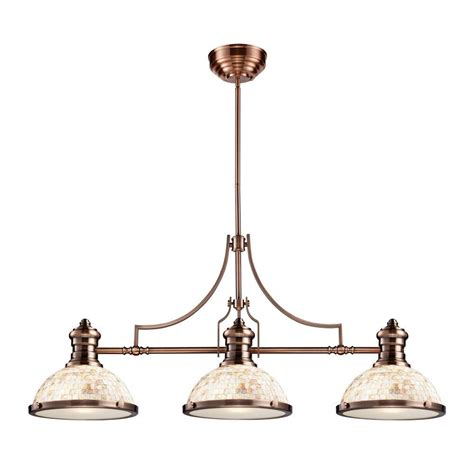Antique Island Lighting Titan Lighting Chadwick 3 Light Antique Copper Ceiling Mount Island Light Tn 10066 The Home Depot