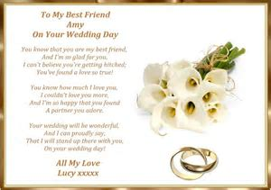To My Best Friend on Your Wedding Day Personalised A4