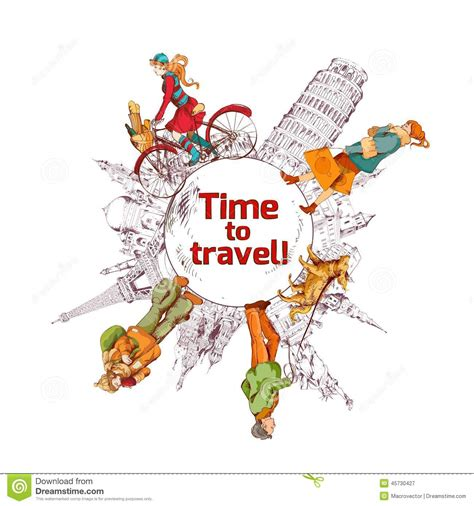colored time travel time sketch colored poster stock vector image