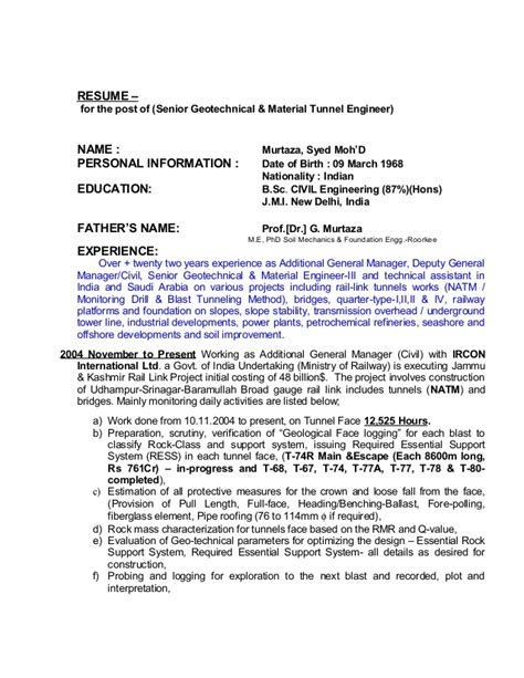Marine Geotechnical Engineer Sle Resume by Resume Senior Geotechnical Material Natm Tunnel Engineer 21032015