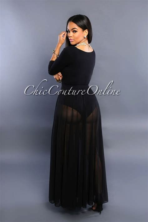 chic couture gianella black sheer slit luxe