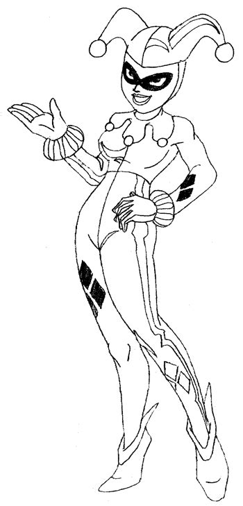 How to Draw Harley Quinn from Batman Comics with Drawing ... U Coloring Page