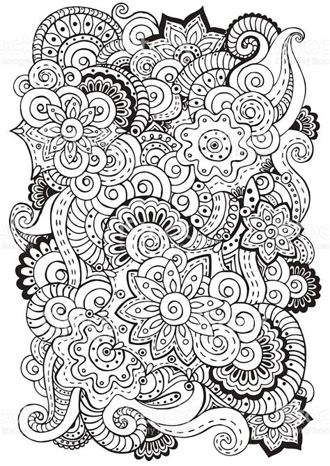 doodle background in vector with flowers paisley black and