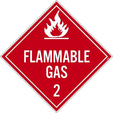 flammable home placard flammable gas 2 10 75x10 75 pressure sensitive