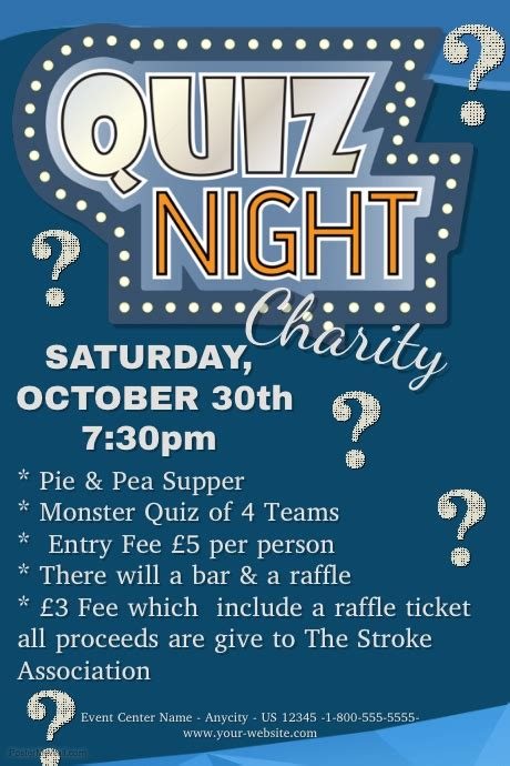 trivia poster template quiz charity template postermywall