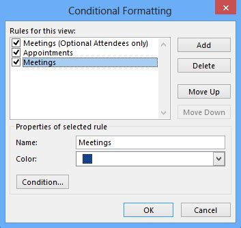 quot conditionals outlook quot conditional formatting quot for meetings without