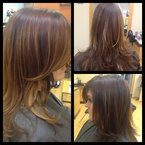 highlights for front sides only for dark brown hair dark golden brown with caramel highlights long layers