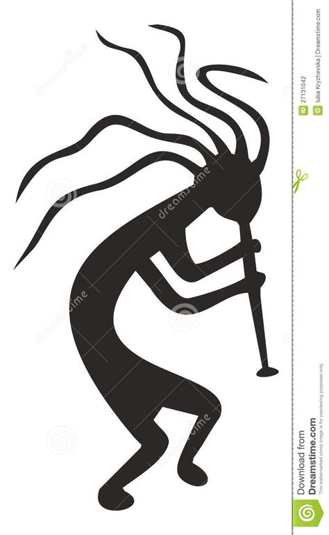 kokopelli tribal vector symbol fertility deity stock
