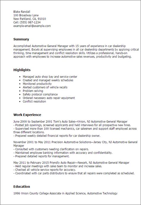 Automotive General Sales Manager Sle Resume by Professional Automotive General Manager Templates To Showcase Your Talent Myperfectresume