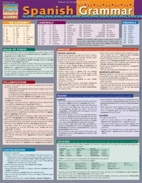 a spanish learning grammar bar charts quick study reference guide spanish grammar pak