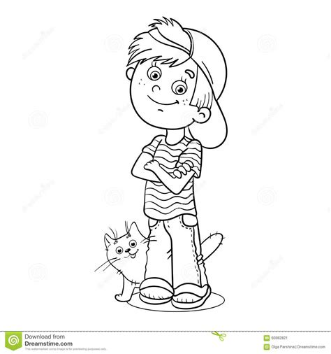 Coloring Page Outline Of A Boy With His Cat Stock Vector Outline Of A Boy And Coloring Pages
