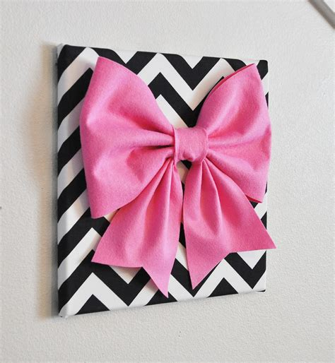 wall decor large pink bow on black and white chevron 12