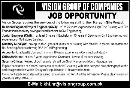 vision group karachi jobs 2017 application form roll