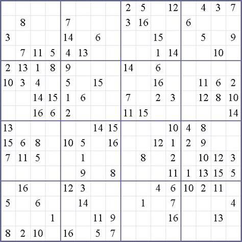 Sudoku 16 Printable