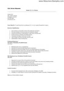 Simple Resume Sle by Cdl Driver Resume Resume Format Pdf
