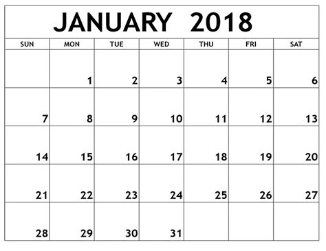 Free Calendar Printable Template by January 2018 Printable Calendar Printable Calendar Templates