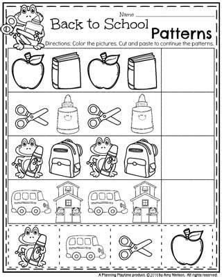 kindergarten pattern cut and paste worksheets back to school preschool worksheets school worksheets
