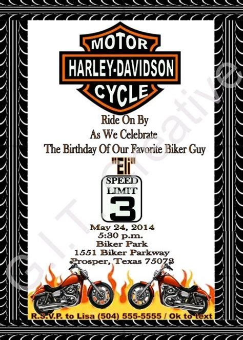 29 Best Party Theme Harley Davidson Images On Pinterest Harley Davidson Cake 50 Year Harley Davidson Invitations Templates