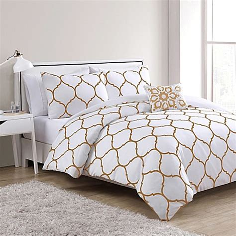 white gold bedding vcny ogee comforter set in gold white bed bath beyond