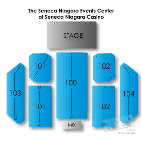 niagara center seating chart concerts the seneca niagara events center at seneca niagara casino