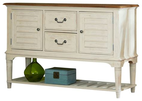dining room server weathered sand and white two tone