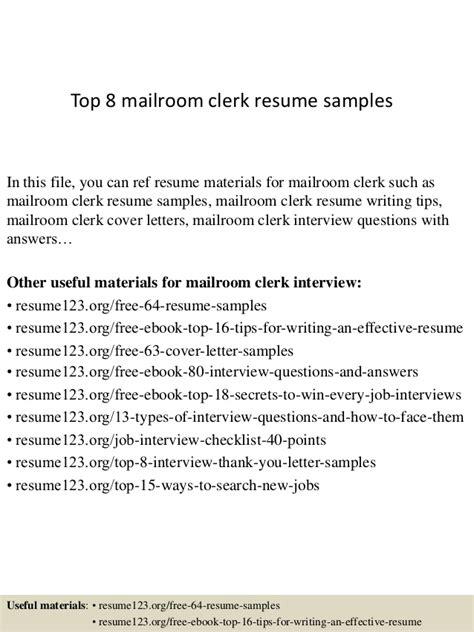 Mailroom Clerk Resume Sample – cover letter mailroom clerk