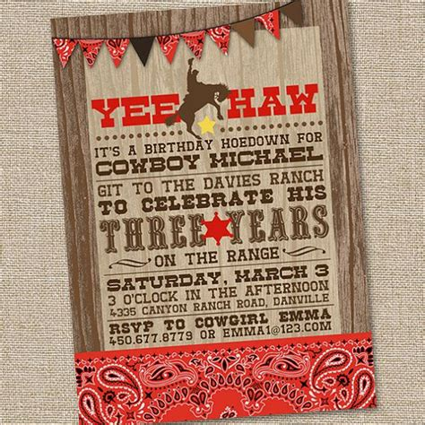 western birthday card template free printable cowboy birthday invitations free