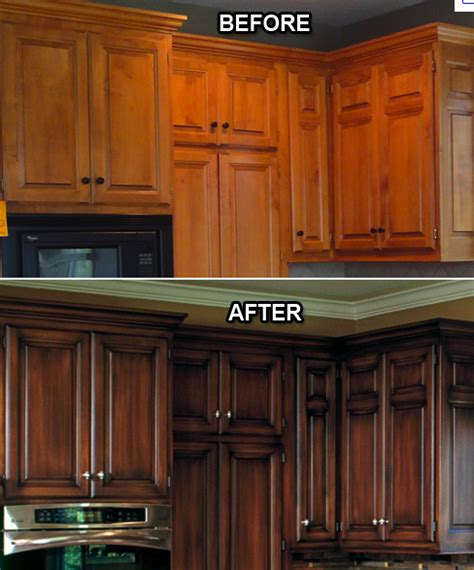 Kitchen Resurface Cabinets by Refinishing Kitchen Cabinets Before And After