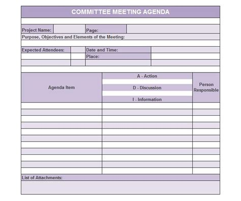 committee meeting template exle agenda formats pictures