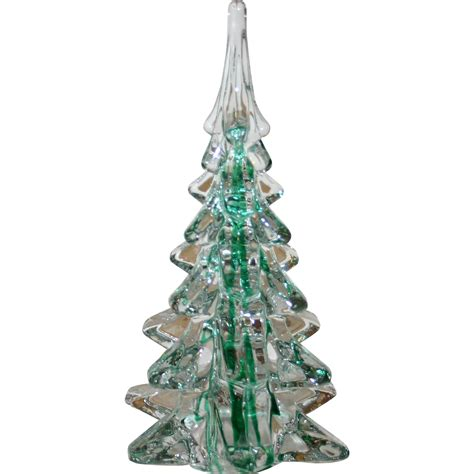 green ribbon lead glass christmas tree sold on ruby lane