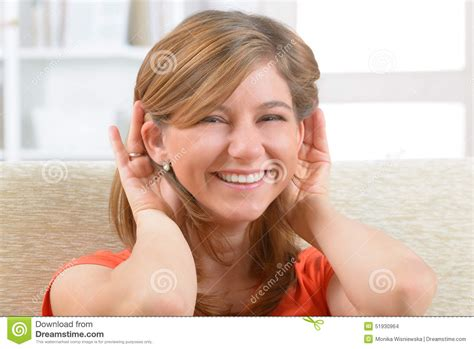 wraring hearing aid washed hair woman wearing deaf aid stock photo image 51930964