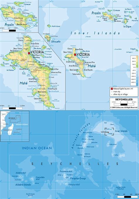 seychelles map large detailed physical map of seychelles with all cities roads and airports vidiani