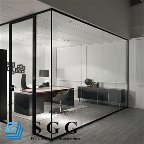 White Wall Room With Glass Windows And Blue Blinds by Soundproof Glass Partition Clear Glass Wall Toughened