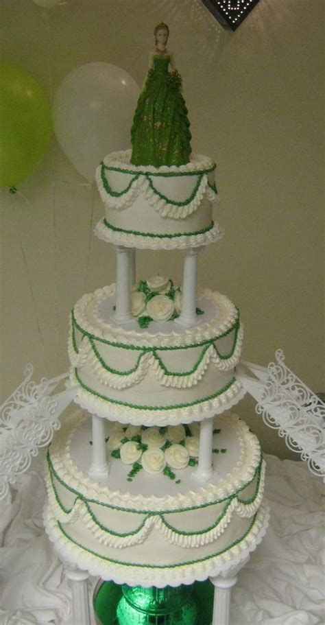 tier quinceanera cake  green trim abc cake shop bakery