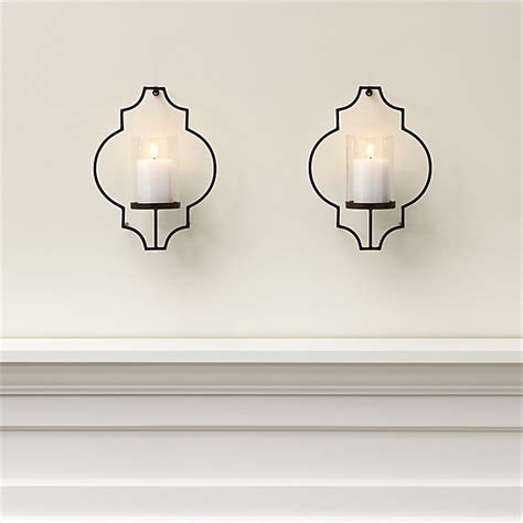 Outdoor Candle Sconces Wall Set Of 2 Rosaline Metal Wall Candle Holders Crate And Barrel