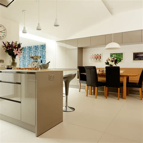 open plan neutral kitchen kitchen diners housetohome co uk contemporary grey kitchen diner ideal home