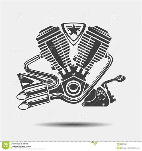 vector motor layout car engine or motorbike motor black icon stock vector